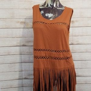 Rock & Republic Brown Boho Fringe Tank